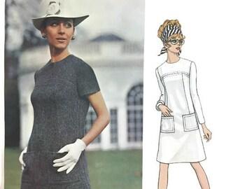 Original 60s Vogue Couturier Design 2006 Sybil Connolly Mod A-Line Dress Sewing Pattern Size 14