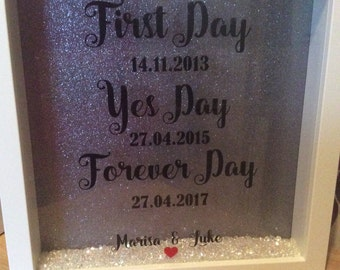 """Silhouette glitter box  frame """"first day, yes day, forever day"""""""