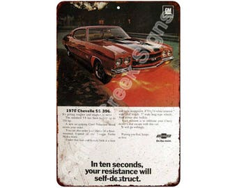 1970 Chvelle SS 396 Vintage Look Reproduction 8x12 Metal Sign 8121380