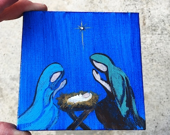 Miniature Nativity Painting on easel