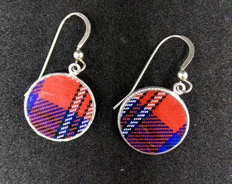 Tin Earrings Tartan Red