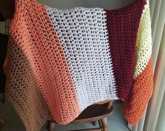 Modern Crochet Baby Blanket/ Throw *** free shipping ***