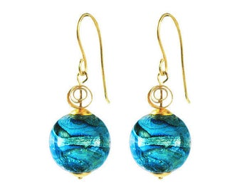 Murano Glass 'Gaia' Bead Gold Spiral Earrings Turquoise from Mystery of Venice, Italy, Murano GlassJewelry, Venetian Glass, Italian Earrings
