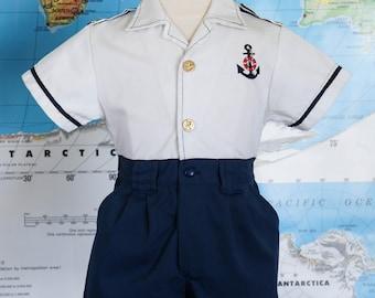 Vintage Sailor Suit / Toddler Sailor Suit / Vintage Nautical Romper / Vintage Toddler Boys Sailor Clothes / Size 3T / Toddler Size 3