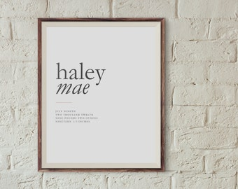 Custom Minimal Baby Birth Announcement  |  Personalized Baby Stats  |  Nursery Art  | Wall Decor
