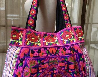 Ethnic bag, handmade bag, boho bag, oversized bag, shopping bag, gym bag, beach bag, bag with handles, embroidered bag, embroidery