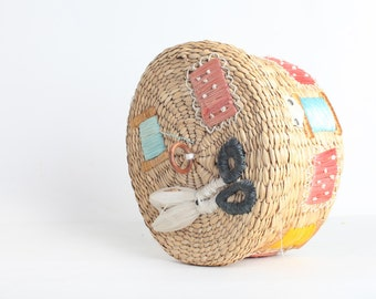 Large Sewing Basket with Hinged Lid, Raffia Basket, Lined Woven Straw Basket