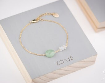 Gold filled Dainty Bracelet CROATIA natural Green Aventurine and White Moonstones