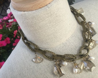 Freshwater pearl, german crystal charm womans necklace.