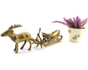 Vintage Brass Reindeer - Brass Sleigh - Christmas Candy Dish - Holiday Display Table Decor - Brass Christmas Decor - Santa's Sleigh - Rudolf