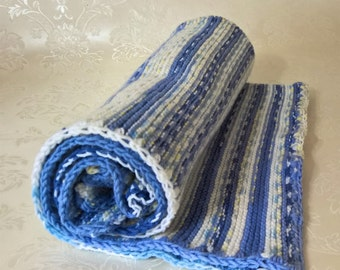 Very soft baby wool, knitted baby blanket, blue,