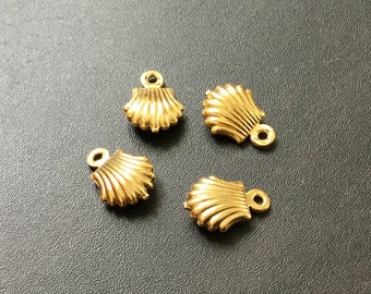 Mini Shell Gold Jewelry Charms | Gold Plated Brass Charm | Jewelry Connector Pendant Bracelet Earrings Keychain 8x10mm 4pcs CH19