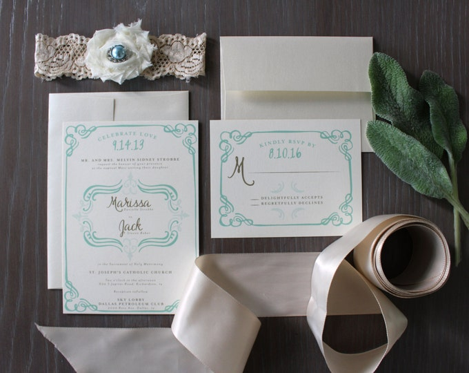 PRINTABLE Wedding Invitation Suite | Classic Femme in Mint & Brown