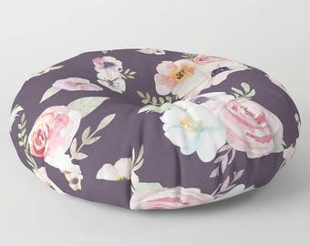 "Oversized Floor Pillow - Watercolor Floral I - Eggplant Purple Pink - Round or Square - 26"" or 32"" - Throw Poof Pouf Cushion"