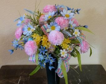 Spring Funeral Flowers, Grave Flowers, Spring Cemetery Decor, Carnation Cemetery Arrangement