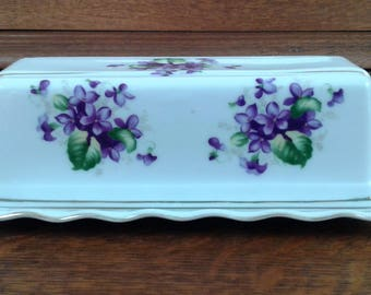 Vintage Butter Dish Rectangular Delicate Violets Made in Japan.