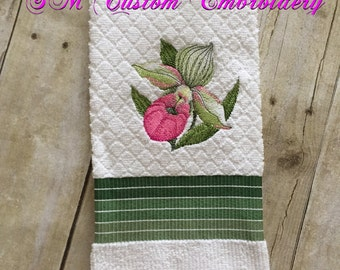 Lady Slipper Orchid Embroidered Kitchen Towel, Orchid Towel, Orchid Gift, Orchid Love, Paphiopedilum Embroidery, Orchid Flower