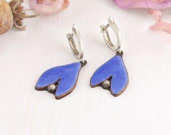 Blue Enamel Earrings, Blue Flower Earrings, Blue silver dangle, copper enamel earrings, enamel jewelry, flower form earrings, enamel flowers