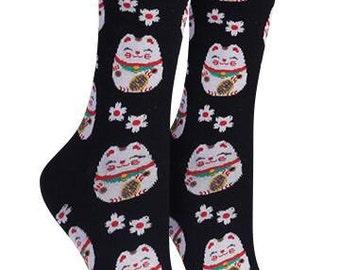 Art Socks,Lucky Cat,Maneki Neko,Cotton Blend,Gift for Women,Cat Lovers,Art Teachers,Teachers,Holiday Gift,Art Socks,Unique Gift