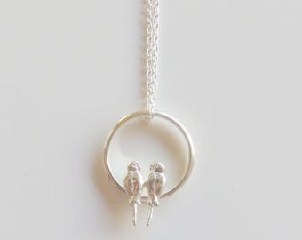 Budgerigar necklace, Parakeet necklace, bird necklace, Bird Jewelry, bird ring necklace