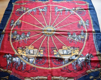 Vintage silk scarf with classic carriage print