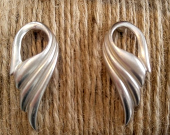 VINTAGE Wing Earrings-Signed JS-Silver-Pierced, Angel- All Orders Only 99c Shipping!!