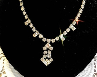 STUNNING Rhinestone Necklace-Silver-Vintage-Glamorous-Stones--All Orders Only .99c Shipping!