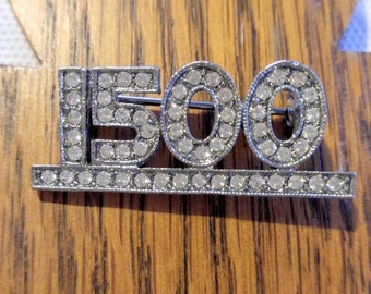 RARE CASINO BROOCH-1500 Rhinestone Jackpot Winner-Vintage Pin-Silver-Collector Piece-Slot Machine, Gambling- All Orders Only 99c Shipping!!