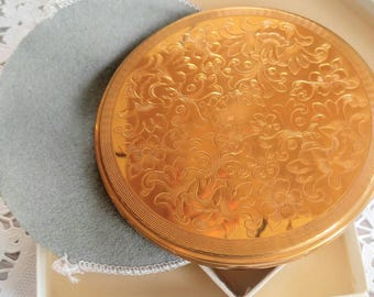 GORGEOUS Gold Vintage Large Powder Compact Box/Case-With Box and Cover-Raised Floral/Flower Design-Round-All Orders Only 99c Shipping!!