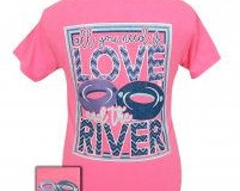 Girlie Girl Love the River short sleeve tee shirt NEW