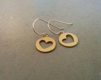 Gold Earrings, Heart Earrings, Dangle Earrings, Gold Heart, Jewelry Gift, Girls Gift, Girls Earrings, Gift For Her, Holiday Gift, Gold Heart