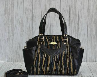 Black leather handbag, fabric bag, fabric handbags, faux leather travel bag, gift women, College dorm girl, Vegan purse, Annette handbag