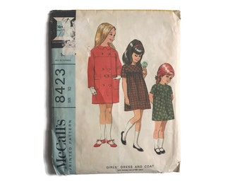Vintage 60's Sewing Pattern Girls Dress and Coat McCall's 1960's Pattern Girls Size 10 Retro Kids Clothing