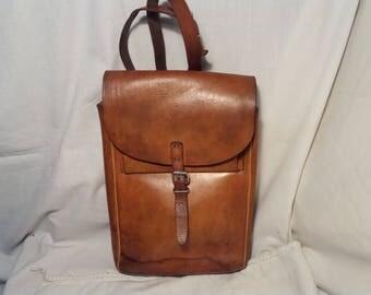 Vintage 1980's Light Brown Leather Handbag - Shoulder Bag
