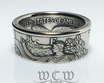Walking Liberty Half Dollar Coin Ring - 90% Silver - High Quality - United States 50 Cents