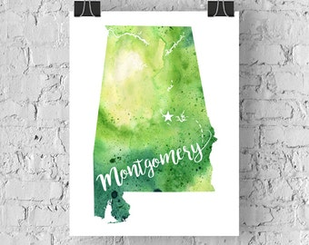 Custom Alabama Map Art, AL Watercolor Heart Map Home Decor, Montgomery or Your City Hand Lettering, Personalized Gift Giclee Print, 5 Colors