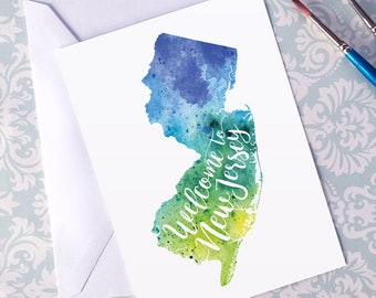 New Jersey Watercolor Map Greeting Card, Welcome to New Jersey Hand Lettered Text, Gift or Postcard, Giclée Print, Map Art, 5 Colors