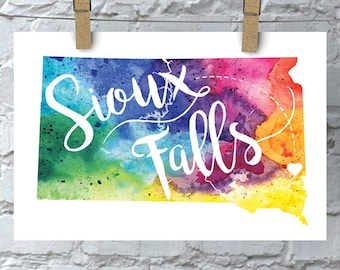 Custom South Dakota Map Art, SD Watercolor Heart Map Home Decor, Sioux Falls or Your City Hand Lettering, Personalized Giclee Print 5 Colors