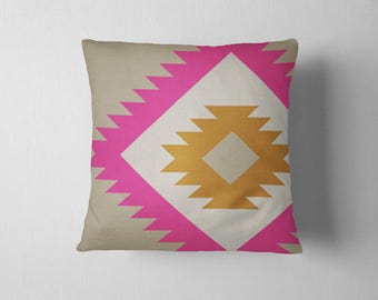 Oversized navajo tribal pattern throw pillow - Pink and Orange