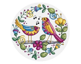 Two Singing Birds - Durene J Cross Stitch Pattern - DJXS2215