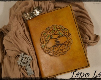 Book cover leather, tree of life Celtic