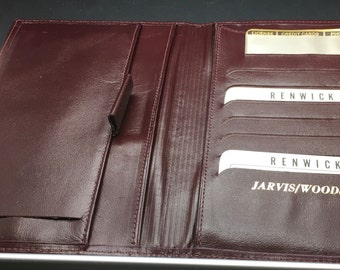 Vintage Renwick Burgundy Red Brown  Check Book Document Licence Credit Cards Photo ID Bifold Wallet  Genuine Leather Steerhide Woodside