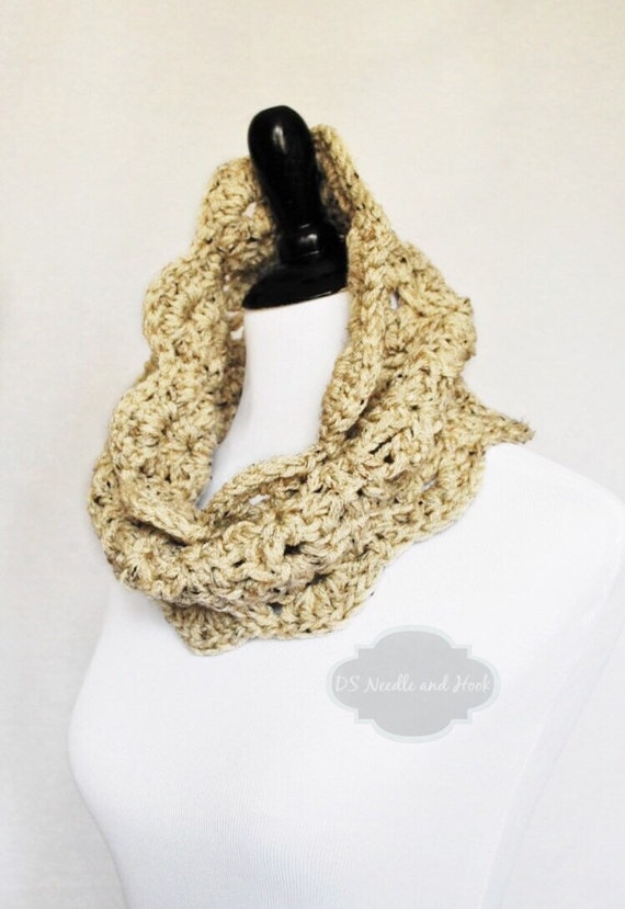 Beige Tweed Crochet Scarf, Lacy Crochet Cowl, Scalloped Neck Warmer, Infinity Scarf, Collar - Lacy Crochet, Neutral Taupe Brown, Oatmeal Hea