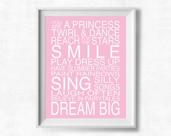 Playroom Rules Printable: Princess Quote Printable Art, Pink Nursery Wall Art, Pretty+Paper 8x10 Instant Download