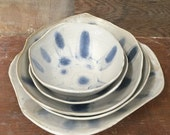 Free Form Nesting Bowls in Blue and White - Set of 5 Handmade Pottery Bowls with Mocha Diffusion