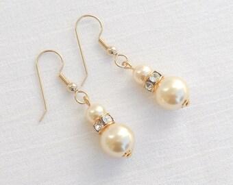 Swarovski light gold crystal pearl earrings