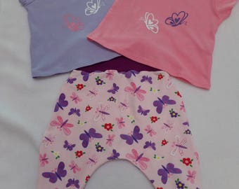 set of 6 months harem pants and tee shirts model butterflies