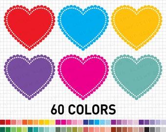 "Heart Clipart: ""Digital Heart Clipart"" Rainbow Heart Clipart, Heart Labels, Colourful Hearts Clipart, Valentine Clipart, Heart Frame Clipart"