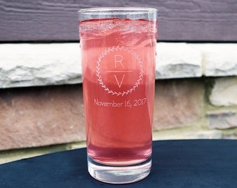 Personalized Tall Glass Engraved With Elegant Initials