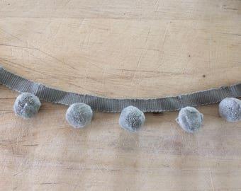 Grey pom pom trim 100% cotton